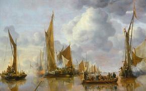 Wallpaper sail, seascape, Salute to the Government Sloop, Jan van de Capelle, ship, picture