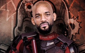 Picture poster, beard, background, Suicide squad, Suicide Squad, Deadshot, Will Smith, Will Smith, action, costume