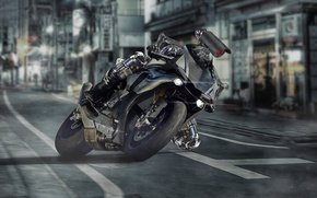 Picture road, the city, figure, photoshop, robot, technology, Tokyo, motorcycle, robot, yamaha, photoshop, Rider, by DiMANLY, …