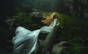 Picture forest, girl, dress, TJ Drysdale, Windswept