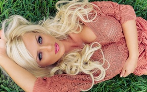 Wallpaper grass, look, blonde, Aida Ridic