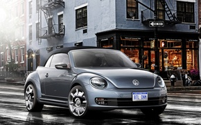 Picture Concept, the city, street, beetle, Volkswagen, the concept, convertible, Volkswagen, Beetle, Denim, Cabriolet, 2015