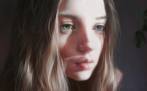 Picture eyes, look, girl, face, hair, beauty, art