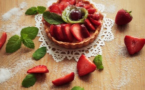 Picture food, kiwi, strawberry, cake, mint, cream, sweet, basket