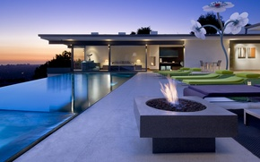Picture fire, bed, interior, pool, bedroom, sunbeds, exterior