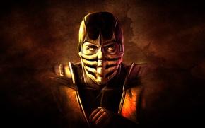 Picture the dark background, hand, mask, Scorpio, ninja, scorpion, mortal kombat