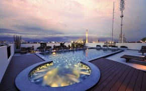 Picture the city, the evening, pool, penthouse, Bangkok