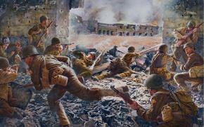 Picture Art, War, Shootout, Soldiers, WW2