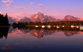 Picture the sky, trees, sunset, mountains, lake, boat, boat, Wyoming, USA, grand teton national park