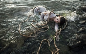 Picture water, girl, rope