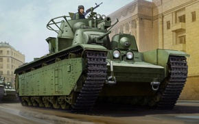 Picture war, art, painting, tank, T-35