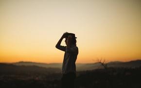 Picture twilight, hat, sunset, man, dusk