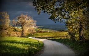 Picture road, clouds, Italy, shadows, Strada, Macerata, San Severino