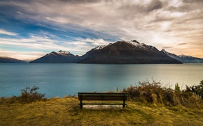 Picture New Zealand, lake, Queenstown, bench