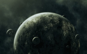 Picture planets, darkness, Sci fi, moons