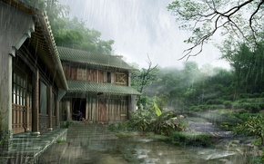 Wallpaper house, rain, Japan, Japan, house, rain