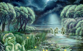 Picture water, art, stars, water lilies, painting, Wallpaper, the moon, figure, water, night, mermaid, clouds