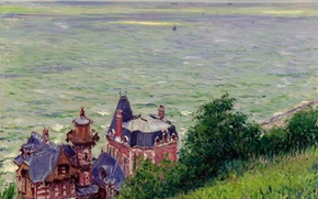 Picture Villa in Turville, Gustave Caillebotte, sea, home, the sky, landscape