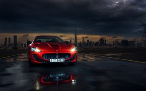 Picture Car, Mc Road, Darkside, Red, Granturismo, Ligth, Dubai, Maserati, Sport, Front, Italian