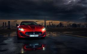 Picture Maserati, Red, Car, Dubai, Front, Sport, Granturismo, Italian, Ligth, Mc Road, Darkside