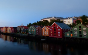 Picture the city, Norway, houses, promenade, Trondheim