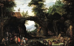 Picture picture, genre, Jan Brueghel the younger, Landscape with the Catholic Mass in the Grotto