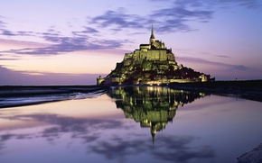 Picture The sky, Clouds, Reflection, Lights, Mountain, Horizon, Castle