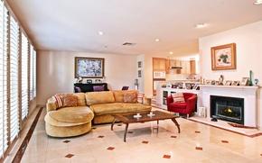 Picture design, sofa, Villa, kitchen, pictures, fireplace, Design, living room, decor, Interior, Living