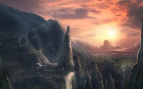 Wallpaper sunset, mountains, figure, Bridge