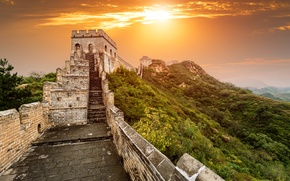 Picture mountains, dawn, China, Beijing, Beijing, The great wall of China, Great Wall of China