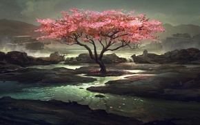 Picture lake, tree, art, gloomy
