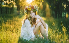 Picture wreath, grass, girl