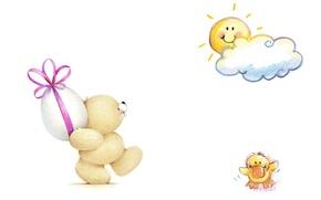 Picture mood, holiday, gift, egg, art, bear, Easter, the sun, children's, Forever Friends Deckchair bear, utenok