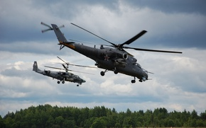 Picture flight, Ka-52, helicopters, Mi-24/35