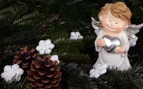 Picture decoration, snowflakes, branches, smile, holiday, toy, new year, cute, Christmas, angel, tree, needles, wings, heart, …