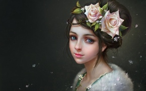 Picture girl, flowers, background, roses, art, fur