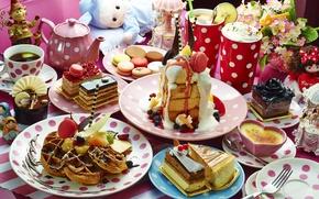 Wallpaper berries, tea, kettle, cocktail, cake, cake, waffles, cuts, desserts, macaroon
