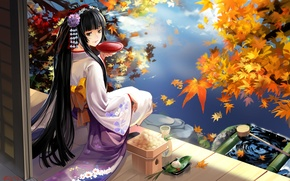 Picture autumn, girl, lake, geisha