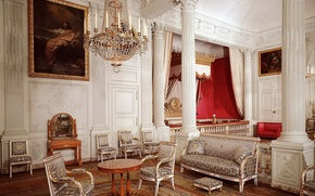 Picture chandelier, retro, interior, picture, columns, chairs, patterns, design