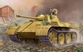 "Picture war, art, tank, ww2, tank, german tank, tank, Light Tank VK 1602 ""Leopard"""