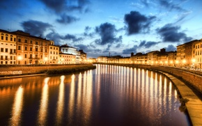 Wallpaper night, Italy, Pisa, Italy, night, River Arno, Pisa