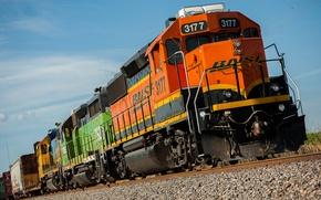 Picture rails, train, cars, locomotive
