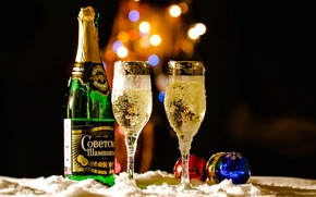 Picture balls, holiday, glass, champagne