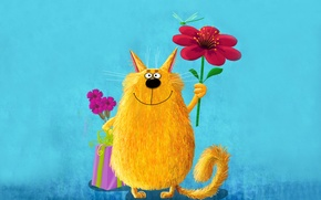 Picture flower, cat, yellow, pink, paint, picture, dragonfly, large, art, cute, painting, cat, keeps, funny, painting, ...