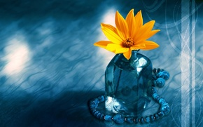Picture flower, blue, beads, vase