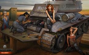 Picture girl, engine, tank, girl, repair, tanks, WoT, World of tanks, tank, World of Tanks, tanks, ...