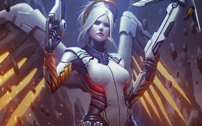 Picture girl, angel, Dr., blizzard, art, Overwatch, Mercy, Angela Ziegler