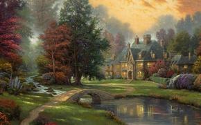 Picture trees, sunset, duck, river, Landscape, painting, the bridge, cottage, Thomas Kinkade