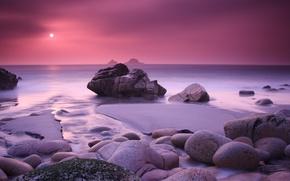 Picture sand, sea, water, the sun, sunset, stones, pink, island, Nature