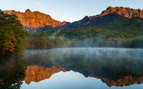 Picture autumn, forest, water, trees, mountains, fog, lake, reflection
